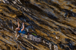 15-year-old Slovenian climber Janja Garnbret onsighting Avatar 8b at the crag Pandora in Croatia.