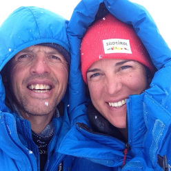 Simone Moro and Tamara Lunger at Manaslu Base Camp