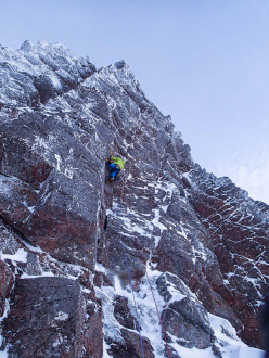 Greg Boswell climbing Banana Wall at Coire an Lochain in Scotland