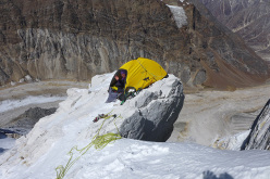 'Cookie camp', our 15º decent high (ramp?) camp, at 5800m.