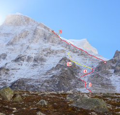 Shivling attempt by Daniela Teixeira and Paulo Roxo.  1.Route of the second attempt (until 6000m). 1a. Route of the first attempt (until 5650m) 2. German route (May 2014). 3.Normal route (Northwest spur). A.'Star Gully'. B.'Cookie rock'