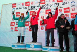 Overall Lead Champion (Women) for the 2015 UIAA Ice Climbing World Tour. 1st Place: Angelika Rainer, 2nd Place: Petra Klingler and 3rd Place: HanNaRai Song