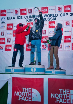 Overall Lead Champion (Men) for the 2015 UIAA Ice Climbing World Tour. 1st Place: Maxim Tomilov, 2nd Place: HeeYong Park and 3rd Place: Alexey Tomilov.
