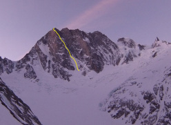 The route line of the Colton - Macintyre route, first climbed by Britain's Nick Colton and Alex Macintyre in August 1976, Grandes Jorasses, Mont Blanc massif