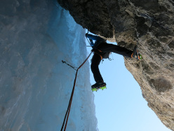 Francesco Salvaterra and Marcello Cominetti making a winter ascent of the Hrushka route up Mur de Pisciadu Orientale, Sella group, Dolomites