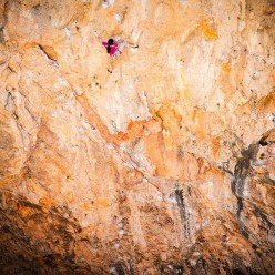 Ashima Shiraishi climbing Open Your Mind direct 9a/9a+ at Santa Linya, Catalonia, Spain