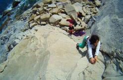 Elena Oviglia climbing Ho visto Cose at Villasimius, Sardinia