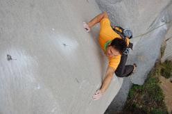 Andrea Mannias climbing So' Ragazzi (6c) at Villasimius, Sardinia