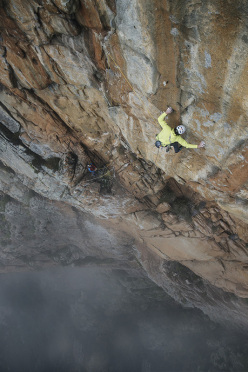 Hansjörg Auer and Much Mayr making the first ascent of Le Petit Prince (8a, 400m), a new multi-pitch climb up the West Face of Capu Cascioni in Corsica.