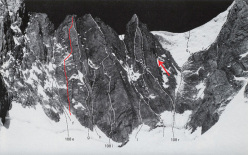 La via Zephyr (M5+, 6b, 400m) sulla parete est del Monte Maudit nel massiccio del Monte Bianco sale tra Filo d'Arianna (f) e la Grassi - Meneghin (g)