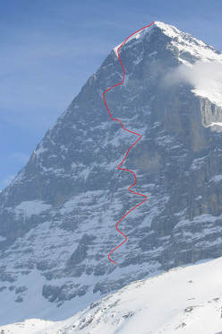 The North Face of the Eiger and the 1938 Heckmair route, as seen on Thursday 19 March 2015, the day before Tom Ballard soloed the climb to complete his Starlight and Storm project.