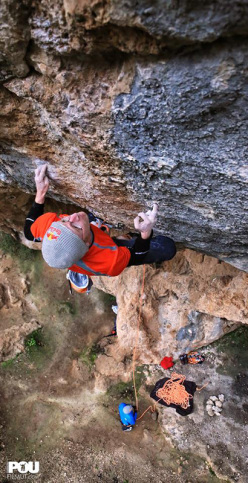 Iker Pou onsighting the 8c Guiris Go Home at Las Perchas, Mallorca.