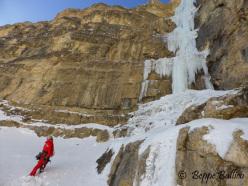 Andrea Gamberini standing below La Piera, Vallunga, Dolomites