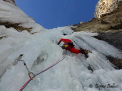 Andrea Gamberini climbing pitch 2 of La Piera, Vallunga, Dolomites