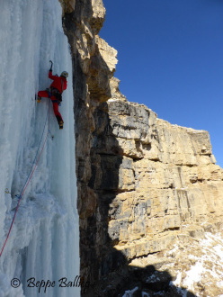 Andrea Gamberini on pitch 4 of La Piera, Vallunga, Dolomites