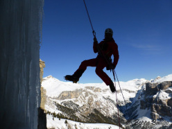 Abseiling off La Piera, Vallunga, Dolomites