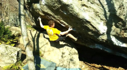 Riccardo Piazza making the first repeat of Ultimo dei Moicani 8B+ at Amiata