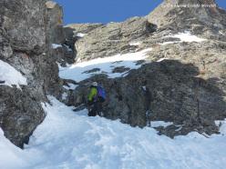 Eraldo Meraldi and Stefano Bedognè making the first ascent of 'Di mamma ce n'è una sola' (280m, III, M6, max 60°) Monte Foscagno