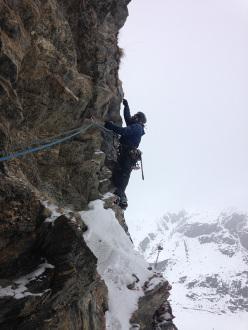 Giancarlo Maritano making the first ascent of La Ragione è la passione
