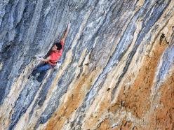 Ramon Julian Puigblanque climbing Pachamama 9a+ at Oliana in Spain