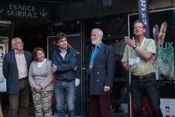 Doug Scott, Federica Cortese, Eric Fournier, Chris Bonington and Christian Trommsdorff during day 1 of the Piolets d'Or 2015 at Chamonix