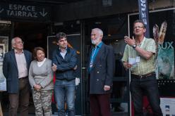Doug Scott, Federica Cortese, Eric Fournier, Chris Bonington and Christian Trommsdorff during day 1 of the Piolets d'Or 2015 at Chamonix