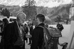 Chris Bonington talking to Tommy Caldwell during day 1 of the Piolets d'Or 2015 at Chamonix