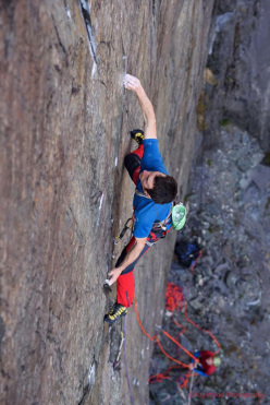 James McHaffie and Pete Robins making the first repeat of Coeur de Lion E8 7a in Twll Mawr, Llanberis, Wales. The route was first ascended by Johnny Dawes in 1987