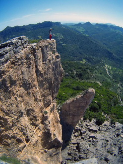 Fabio Erriu on the summit of Su Accara,after the first ascent of Incantos,, Ulassai, Sardinia