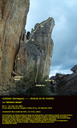 La Guglia Su Sussiu, Ulassai, Sardinia with the rock climbs Infiniti Spazi (80m, 6a max (5c obl), Maurizio Oviglia, Fabio Erriu 26/02/2015), Aikido (20m, 6c+ (5.11c), Maurizio Oviglia 03/2015) and Thai Chi (25m, 7a (5.11d), Maurizio Oviglia 03/2015)