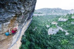 Angela Eiter climbs her 3rd 9a route on Era Vella, Margalef, Spain on April 15th 2015