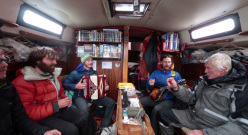Nicolas Favresse, Olivier Favresse, Ben Ditto, Sean Villanueva and Bob Shepton on the sailing boat Dodo's Delight with which, in summer 2014, the explored the climbing in Greenland and on Baffin Island.