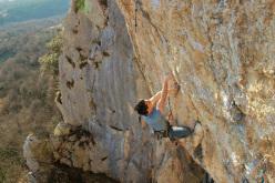 Marko Rožman climbing Fortyfeedwoman 8b+ at Kompanj, Istria, Croatia