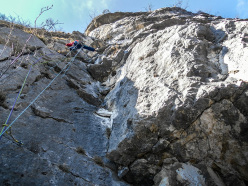 During the first ascent of Chiodo Fisso (Michele Lucchini, Tommy Marchesini), Busa dei Preeri, Val d'Adige