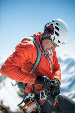 Dani Arnold on 22/04/2015 during his record breaking ascent of the Schmid route on the Matterhorn in 1:46.