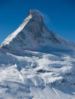 The Matterhorn and the line of the Schmid route, first climbed by Franz and Toni Schmid between 31 July and 1 August 1931