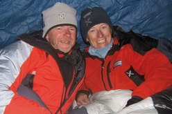 Romano Benet and Nives Meroi at an intermediate camp on Everest