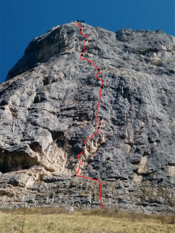 The route line of If (300m, 8a max, 7b+ oblig), Monte Cavallo, Lecco, first ascended by Matteo Della Bordella and Eugenio Pesci