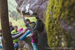 Melloblocco 2015 day 4 Pietro Biagini climbing Il Quadrifoglio