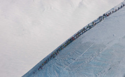 Mezzalama 2015: teams descending down Lyskamm's Nose