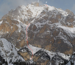 Cima Conturines: the main summit 3064m (C) and the start of the descent (P) and the abseil.