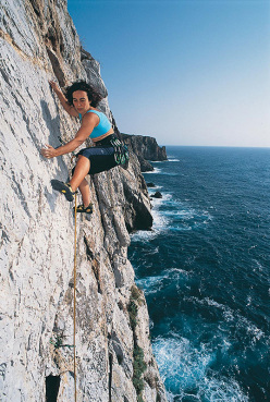 Cecilia Marchi climbing Riflessi Magici (one fo the recetnly reequipped sport climbs) at Pranu Sartu, Sardinia.
