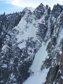 Pain de Sucre (3607m) North Face. Yellow: the line chosen by Pierre Tardivel in 1990 when he made the first ski descent of the face. Green: the line chosen by Andreas Fransson, Arne Backstrom and Tobias Granath in 2009. Red: the Voie Normale skied by Davide Capozzi, Julien Herry and Francesco Civra Dano on 10/05/2015.