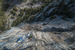 Rolando Larcher climbing pitch 8