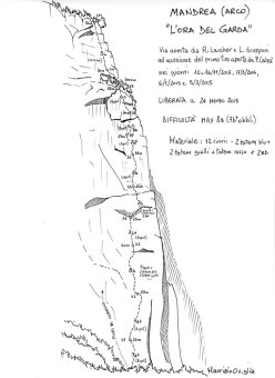 The route line of L'Ora del Garda, the rock climb at Mandrea (Arco) put up by Rolando Larcher and Luca Giupponi