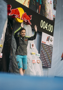 During the finals of the European Bouldering Championship 2015 in Innsbruck: Juliane Wurm