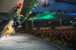Durante la finale del Campionato Europeo di Boulder a Innsbruck: Jakob Schubert
