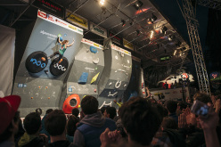 During the finals of the European Bouldering Championship 2015 in Innsbruck: Jessica Pilz