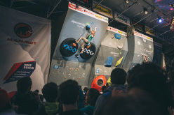 During the finals of the European Bouldering Championship 2015 in Innsbruck: Katharina Saurwein