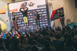 Podio maschile del Campionato Europeo di Boulder a Innsbruck: da sx a dx Adam Ondra, Adam Ondra, Stefan Scarperi